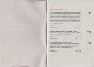 Sommaire du livret des votations en Suisse